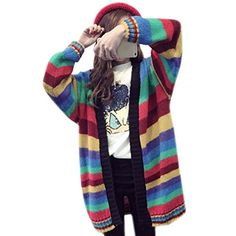 Fashion Knitted Tops Women Long Sleeve Knitwear Rainbow Striped Sweater *** You can find out more details at the link of the image.