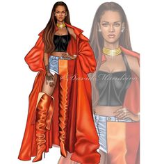 Rihanna by David Mandeiro Illustrations Illustration Mode, Fashion Illustration Sketches, Fashion Sketchbook, Fashion Model Sketch, Fashion Sketches, Black Girl Art, Black Women Art, Fashion Art, Fashion Models