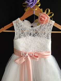 Blush pink sash and bow Ivory lace tulle flower girl dress Junior Bridesmaid Baptism Infant Toddler Dress