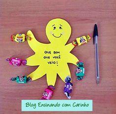 Ensinando com Carinho: Lembrancinha volta às aulas Polvo Doce Kids Crafts, Summer Crafts, Diy And Crafts, Arts And Crafts, Paper Crafts, Edible Crafts, Kids Church, Holidays And Events, Classroom Decor