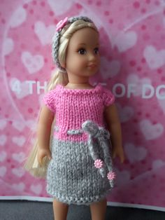 Mini American Girl hand knitted dess and headband