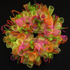 Summer Fun, Spring to Summer Wreath, Orange Hot Pink Lime, Wreaths for Doors, Poly Mesh Wreaths - Item 755