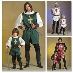 McCall's Pattern Men's, Children's and Boys' Knight, Prince and Samurai Costumes, Adult (S, M, L, XL)