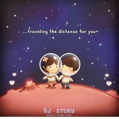 Hj story~travel the world for you Cute Love Images, Cute Love Stories, Love Story, Hj Story, Cute Couple Cartoon, Cute Love Cartoons, Love Is, True Love, Anime Chibi