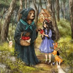 #illustration #drawing #paint #snowwhite #girl #onepiece #fairytale #dog #puppy #tree #woods #forest