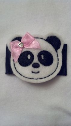 Panada Bear with a Swarovski Crystal on a 2 inch snap clip covered in a grosgrain ribbon  Carlykins Boutique Baby Girl Hair Accessories by CarlykinsBoutique, $4.25