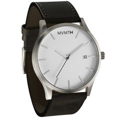 MVMT Watches Men's brushed stainless steel case with a black leather strap. Perfect for any casual or formal outfit.