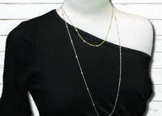 Ideas for necklaces with an asymmetric neckline.