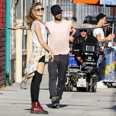 Behati Prinsloo is rocker-chic on the set of Adam Levine's Maroon 5 video Maroon 5, Adam Levine Behati Prinsloo, Adam And Behati, Kylie Jenner Style, Perfect Together, Street Style, Models, Hottest Photos, Daily Fashion