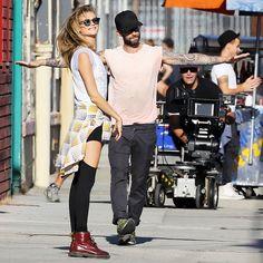 Behati Prinsloo is rocker-chic on the set of Adam Levine's Maroon 5 video