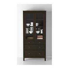 """HEMNES Glass-door cabinet with 3 drawers, black-brown - 35 3/8x77 1/2 """" - IKEA  Hair product storage Disposables Bulk items"""