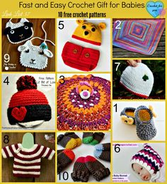 Crochet pattern ideas and free crochet pattern links to make Christmas gifts for babies.