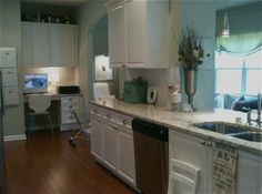 Kitchen Ideas; really like the colors of counter, wall, valance, and cupboards