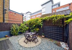 A private patio at Chapel House Apartments in Ealing, London.