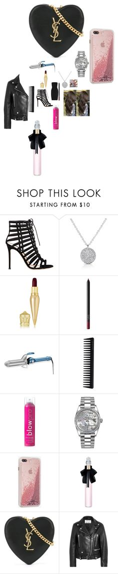 """Untitled #3066"" by fashionicon67 ❤ liked on Polyvore featuring Hervé Léger, Gianvito Rossi, Anne Sisteron, Christian Louboutin, NARS Cosmetics, BaByliss Pro, GHD, blow, Rolex and Case-Mate"
