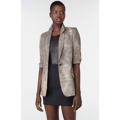 """Elizabeth & James """"James"""" Distressed Linen Blazer A long and lean, menswear-inspired blazer is cut from faded dark grey linen, adding downtown edge to the tailored piece. Elbow-length sleeves are ruched near the ends for a casual, pushed-up effect. Front button closure. Buttoned cuffs. Front convertible flap pockets. Back vent. Approx. length from shoulder: 28"""". Lined. Linen; dry clean. Excellent condition. Has been professionally dry cleaned. Purchased from Nordstrom Elizabeth and James…"""