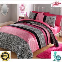 Your Zone Piece Zebra Pink Full / Queen Size Comforter Bedding Set Reversible  #YourZone