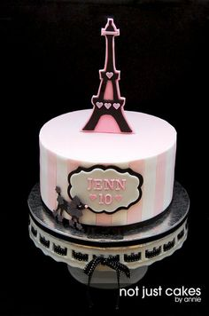 Pink and Black Paris Themed Cake