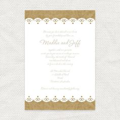 burlap and lace rustic wedding invitation  by idoityourself, $30.00