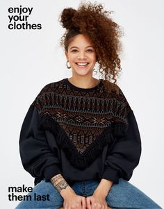 Pull&Bear - woman - new - sweatshirt with fringe trim - black - 05593304-V2018