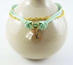 Personalized Jewelry Turquoise Leather Anklet by beachfootjewelry, $18.00