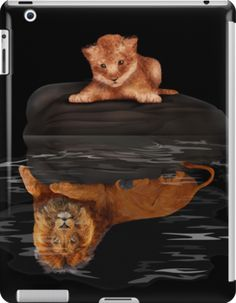 Cute little simba and the big old lion king reflection  iPad Cases & Skins #accessories #case #ipad #tablet #thelion #cat #kitten #animals #kitty #kittens #lion #lionking #younglion #animals #bigkittens