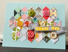 Thank You (square punch) by Paige Evans. Cool technique. -- these cards are just darling!