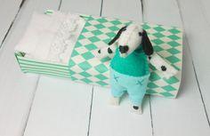 Felt dalmatian puppy dog in matchbox bed by atelierpompadour