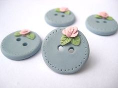 Blush Blossom  Country blue polymer clay buttons from my Etsy shop dollymadison.etsy.com
