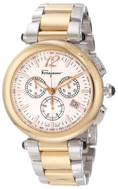 Ferragamo Women's F77LCQ9502 S095 Idillio Gold Ion-Plated Stainless Steel Silver Dial Two-Tone Bracelet Chronograph Watch Ferragamo. $1127.55. Swiss quartz movement- Ronda 5040d. Silver guilloche dial with luminous hands and indexes; date window at 4 o'clock. Gold Ion-Plated case, black onyx cabochon on crown and lugs. Chronograph function; sub-seconds feature. Water-resistant to 99 feet (30 meters)