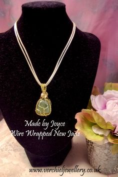 Wirework pendant with New jade tumblestone made by Joyce during a verchiel workshop. www.verchieljewellery.co.uk
