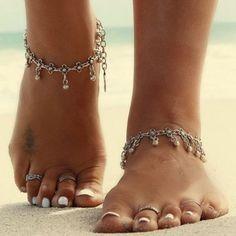 Antique Silver Flower Round Beads Tassel Anklet