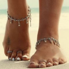 Antique Silver Flower Round Beads Tassel Anklet