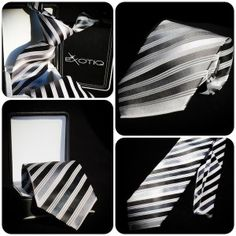 Black Grey Stripes Silk Tie