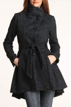 Asymmetrical Belted Wool Coat