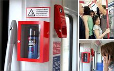 Using ordinary fixtures in extraordinary ways is another key to effective guerrilla marketing, as can be seen in this very creative ad for Right Guard deodorant. Once again, guerrilla marketers take advantage of society's ingrained responses to red emergency boxes and triangular warning signs.