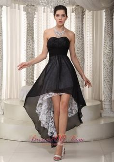 Black Empire Sweetheart High-low Chiffon and Lace Ruched Prom Dress - US$138.59 short black dress,  #perfect black dress -  wonderful black dress -  black celebrity dress