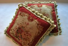 "Two 18"" Antique French Aubusson Tasseled Needlepoint Pillows"