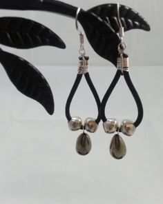 Black Leather Silver and Pyrite Earrings by AurabyPortia on Etsy