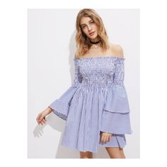 SheIn(sheinside) Shirred Off The Shoulder Bell Layered Sleeve Dress ($26) ❤ liked on Polyvore featuring dresses, blue, sexy long sleeve dresses, sexy blue dress, short blue dress, sexy dresses and blue summer dress