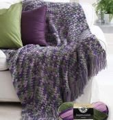 The fresh lilac color of this yarn really brings a smile to your face. This is an easy crochet afghan pattern that calls for a size H crochet hook. Anyone is able to crochet this great pattern.
