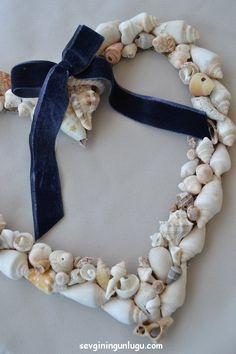 deniz kabuğu, kalp, heart, my heart, decoration, home decoration, door wreath, sea, sea shell, home dıy ideas, handmade
