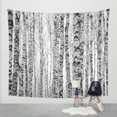 Art Tapestry Wall Winter Birch Trees Fine by KaliLainePhotography