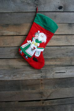 Vintage Green White & Red Velour Santa and Mrs  Clause by vintapod