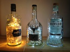 Upcycled DALMORE Tweed Dram 2012 WHISKY Bottle mains 240v Light Lamp LEDs Special Present