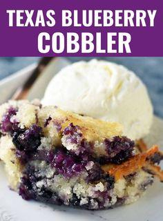 Blueberry Cobbler Recipes, Fruit Cobbler, Blueberry Desserts, Köstliche Desserts, Best Dessert Recipes, Blueberry Desert Recipes, Recipes With Fresh Blueberries, Summer Desert Recipes, Blueberry Cobler