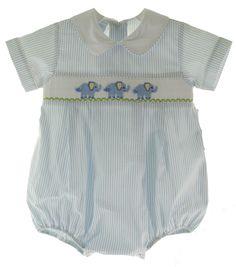 Infant Boys Blue Smocked Elephant Bubble Outfit Petit Bebe