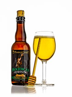 Bottle of Boudica's Uprising with Wine Glass.