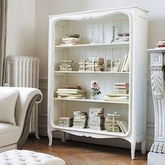 dresser re-purposed into a book shelf unit