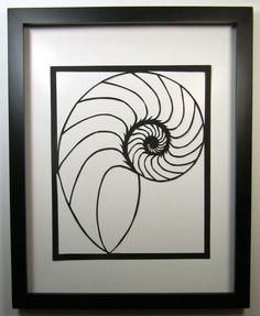 NAUTILUS Shell Silhouette Paper Cutout Handcut in Black Symbolic Wall Art Home Décor ORIGINAL Design SIGNED Hand Cut Framed One Of A Kind via Etsy Nautilus Tattoo, Fibonacci Tattoo, Yarn Painting, Renaissance Artists, Nautilus Shell, Outline Drawings, Detail Art, Sign Design, Art Images
